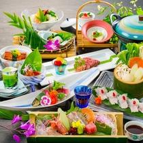 女将特選(夏)~鱧しゅゃぶ、オリーブ牛のたたき、鰻の湯葉豆腐、鮎笹巻き焼き