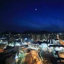 ホテルから望む夜景高松駅側