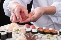 【宴会料理例】お寿司の実演も行っております。※完全予約制、要問合せ