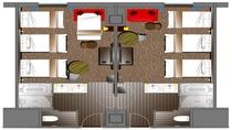 コネクティングツインルーム 各部屋ベッド3台時 平面図