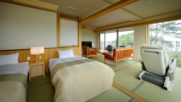 【天望棟】絶景の次郎2階(20帖)◆露天風呂付モダン和洋室