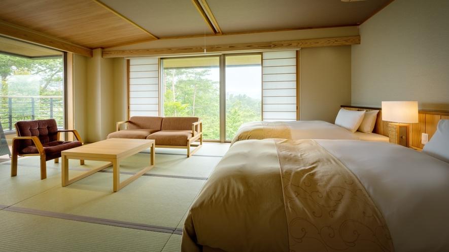 【次郎の庵・1階】14帖の露天風呂付きモダン和洋室◆落ち着きのある雰囲気のお部屋です。