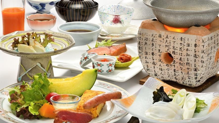 【ご朝食一例】地場食材にこだわった和朝食。一日の始まりを応援する朝食メニューです。