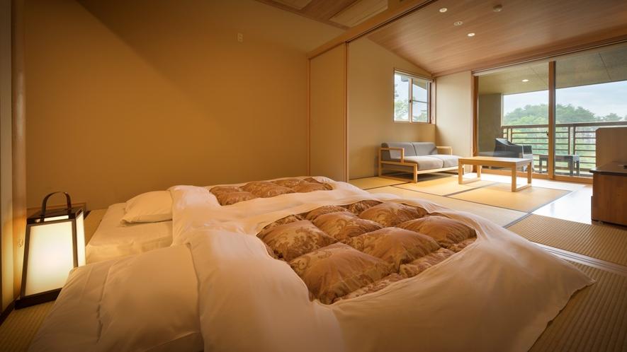 【本館・たろうの庵】8帖+6帖の露天風呂付きモダン和室◆あらかじめ布団を敷いております。
