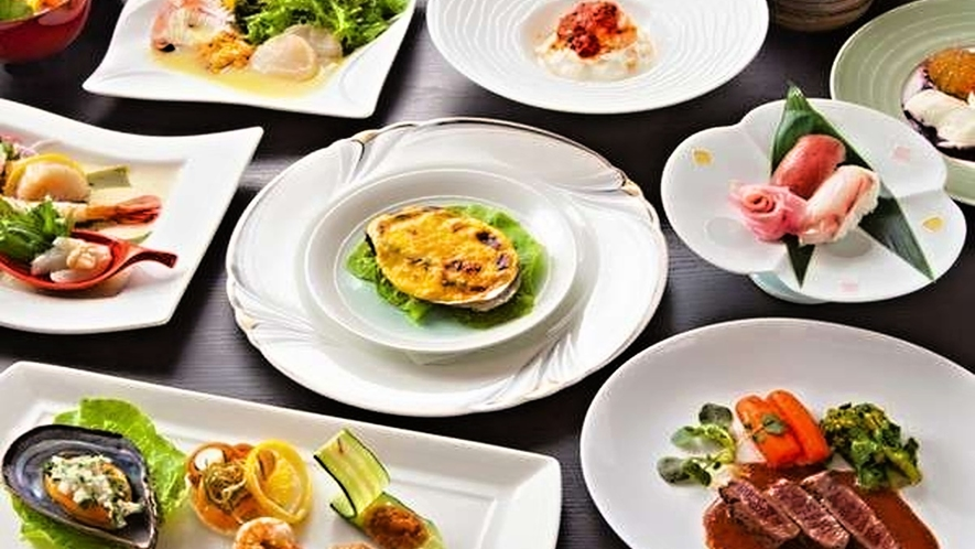 【ご夕食一例】三陸で獲れる新鮮な海産物を素材本来の味を最大限に活かした和洋創作料理でご提供