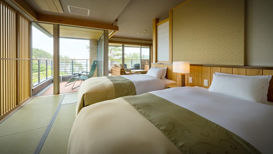 【次郎の庵・3階】16帖の露天風呂付きモダン和洋室◆ツインベッド(セミダブル)をご用意しております。