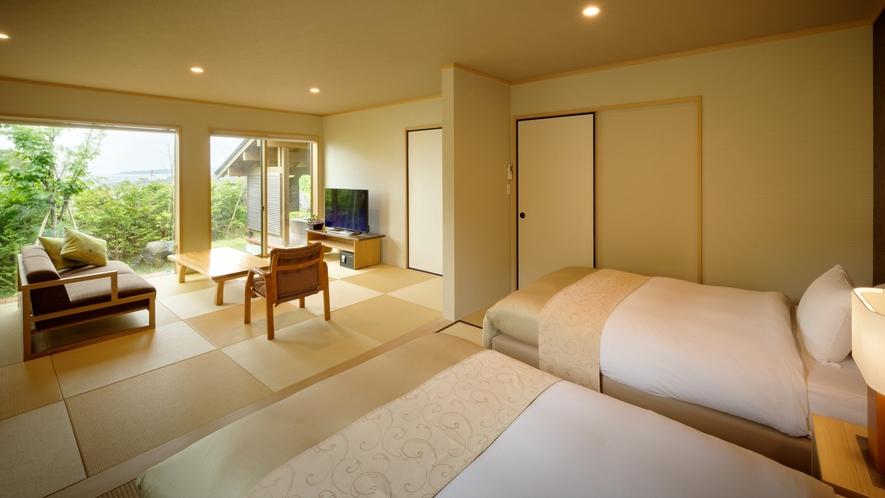 【離れ・三郎の庵】16帖の露天風呂付きモダン和洋室◆寝室と繋がっているので行き来が楽です。