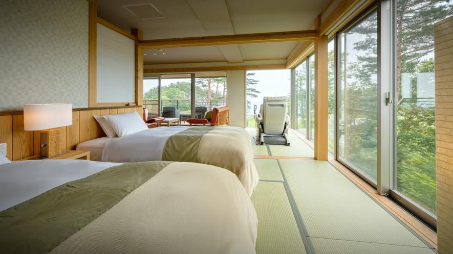 【次郎の庵・2階】20帖の露天風呂付きモダン和洋室◆ツインベッド(セミダブル)をご用意しております。