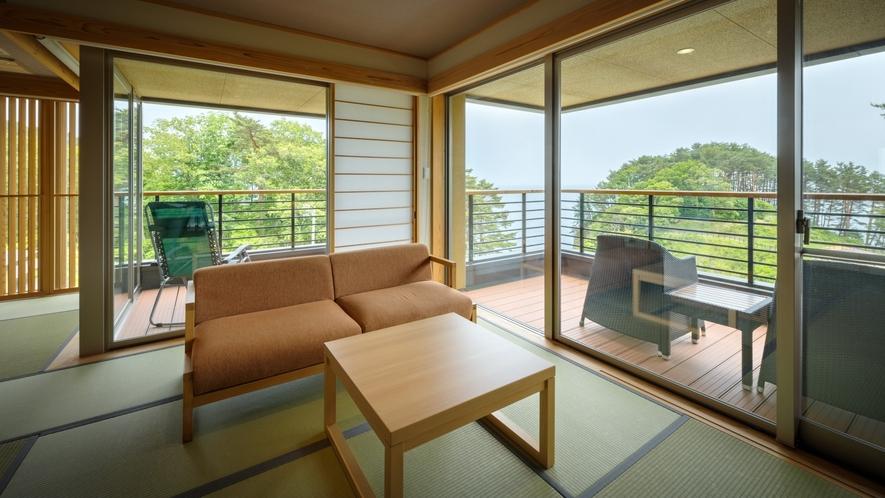 【次郎の庵・3階】16帖の露天風呂付きモダン和洋室◆三陸の海を一望!