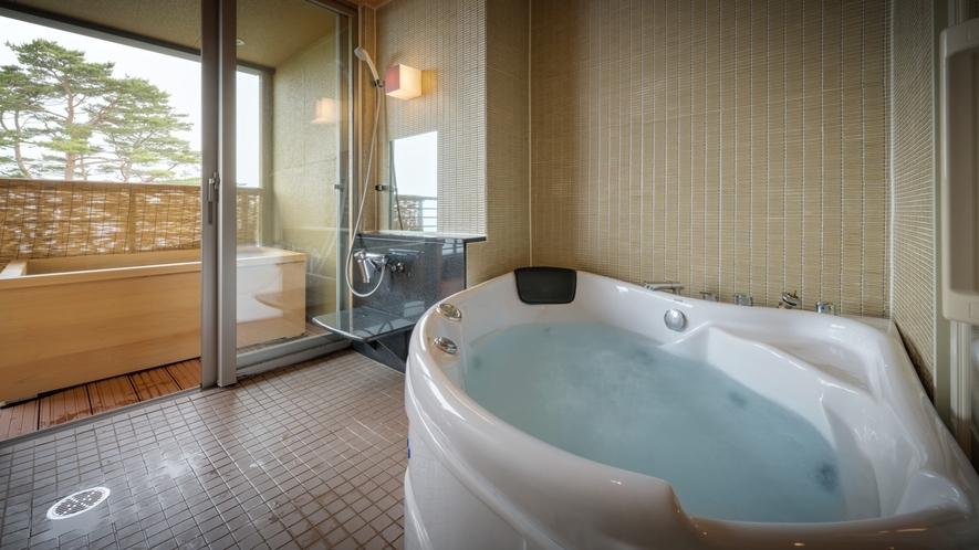 【次郎の庵・3階】16帖の露天風呂付きモダン和洋室◆内風呂と露天風呂 ※温泉ではございません