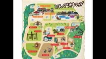 どんぐり村MAP:宿泊受付場所は「どんぐり荘(売店、レストラン)」です。閉店後は宿泊棟で承ります。
