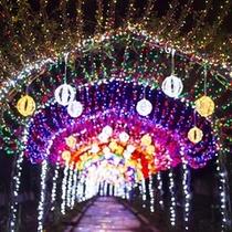 イルミネーション光のトンネル