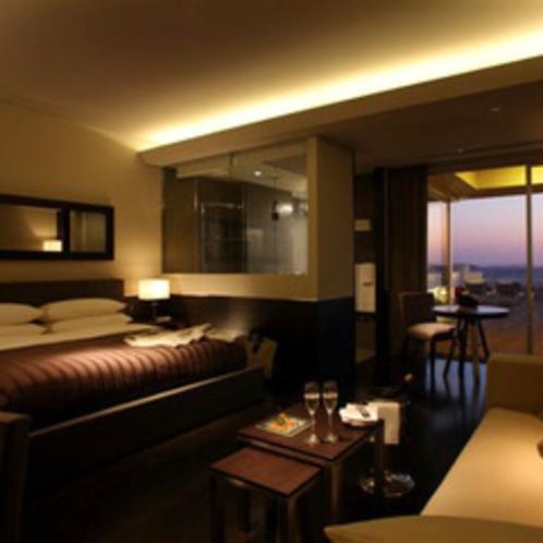 【ラ・サンドレ】グレー系の色でコーディネートされた客室
