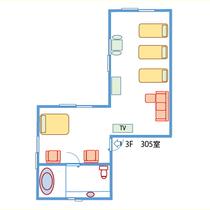【間取り】天蓋セミダブル付!3階ヨーロッパ風客室(禁煙)