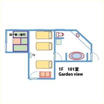 【間取り】ペット可!ガーデンビュー!テラス付!1階和洋室(禁煙)