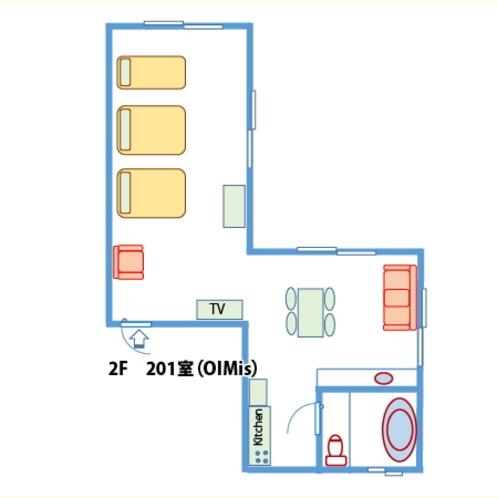 【間取り】ご家族やグループ向け2階ヨーロッパ風客室(禁煙)