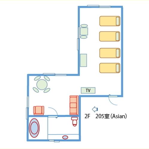 【間取り】アジアンリゾート!2階4ベッドルーム(禁煙)