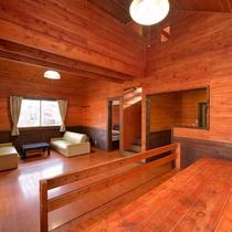 *【コテージ/レインディア】リビングスペースにはソファーベッドがございます。