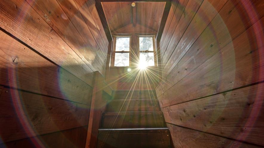 *【コテージ/レインディア】吹き抜けから太陽の光が降り注ぎます。