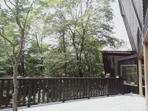 森に囲まれた静かな環境です。新緑の季節や紅葉の季節はテラスにてただ外を眺めるだけで気持ちが良いです♪