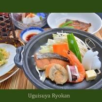 夕食の一例『海鮮陶板焼き』