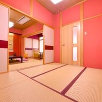 *露天風呂付客室(一例)/春をイメージした温かみを感じるお部屋です。
