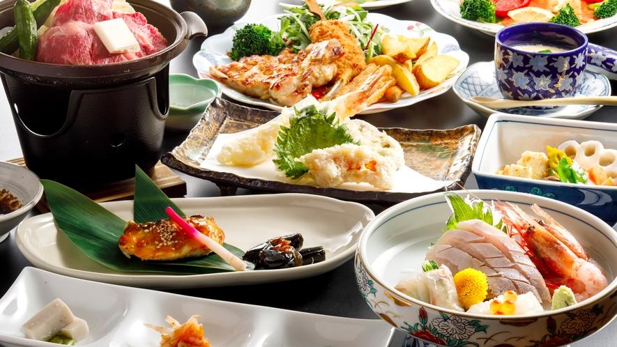 *地元産の食材を多用した季節の会席料理(一例)