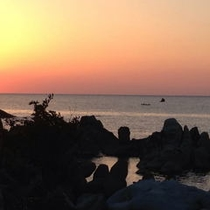 越前の海と夕陽