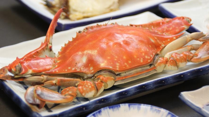 渡り蟹の塩茹で(コース料理内容の一例)