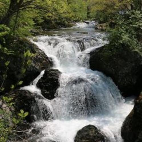 【夏の三階滝】大滝区の名の由来にもなった三階滝はこの地の人気スポット。当館からは車で15分程。