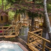 【森の散歩湯WOOD SPA】北湯沢の森を散歩するように、男女各10個の露天をご堪能ください