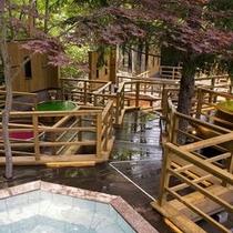 【森の散歩湯WOOD SPA】大自然を間近に感じながら多種多様の香り湯をお楽しみください。
