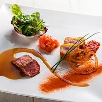 【ZEN・夏】柔らかな日高産仔牛肉を、地元のオロフレトマトを使った3種の味付けで。
