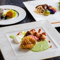 【ZEN・2018年秋】お魚のメインは北海道産キンキのポワレ。エビのパンチェッタ巻きを添えて。