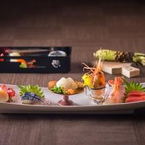【もりの風茶寮・夏】北海道産ボタンエビに本マグロ、山口県産のタイラギ貝やトラフグの贅沢な食べ比べ。