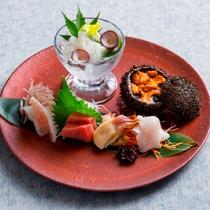 【もりの風茶寮・夏】お造りは北海道産ウニ、水タコ、ホッキ貝に、岩手県の吉次、メジマグロ、きつねメバル