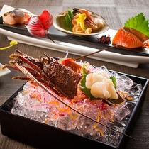 【もりの風茶寮・秋】千葉県産の伊勢エビや北海道産ホッキ貝、銀聖などお造り4種食べ比べ。