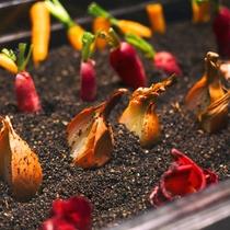 """【夕食ブッフェ一例】""""緑の風 畑""""のプチ野菜は、パン粉製の土から収穫してお召し上がりください!"""