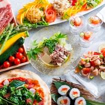 【夕食ブッフェ・一例】旬の食材をふんだんに!種類豊富な和洋中ブッフェをご提供致します。