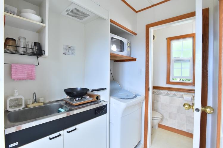 ・ツインスイート:ミニキッチンには自炊に便利な調理器具を完備!