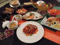 料理一例 戻り鰹と松茸の釜飯