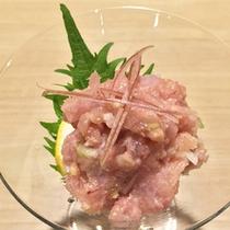 *夕食一例/味噌の風味が効いたなめろうも人気。※料理内容は水揚げ状況により異なります。