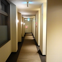 *【館内廊下】ダウンライトで落ち着きのある館内。
