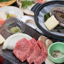 *【日本海御膳(一例)】とろける秋田由利牛に新鮮な活き鮑を是非ご賞味ください!