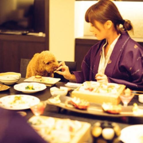 美しく鮮やかに彩る会席を愛犬とともにお部屋食で。