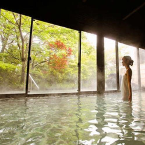 露天風呂併設の内湯からも美しい自然に癒されます。※霧島観光ホテルとの共同利用となります。