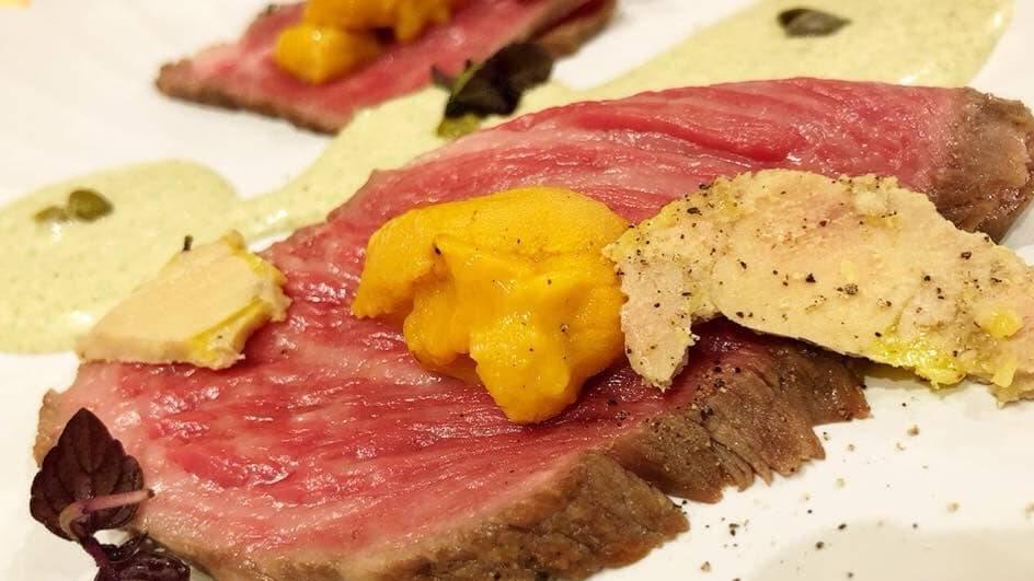 *【料理一例】ローストビーフと雲丹 フォアグラの冷製