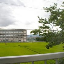 田園風景が続く窓からの眺め