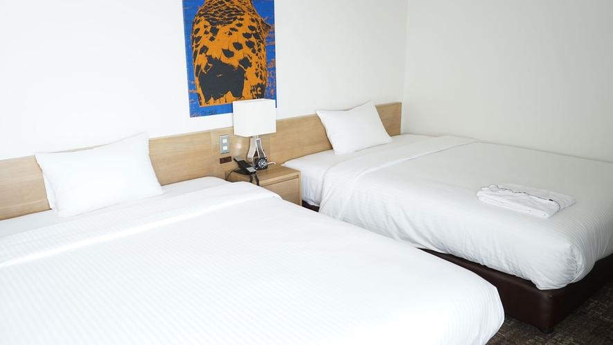 【ワイドツインルーム】ベッド幅140センチでゆったり寛げるお部屋<全室禁煙>