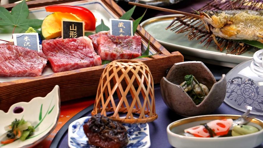 【お食事一例*食べ比べ】山形が誇るブランド和牛を食べ比べで味わう当館一番人気コース